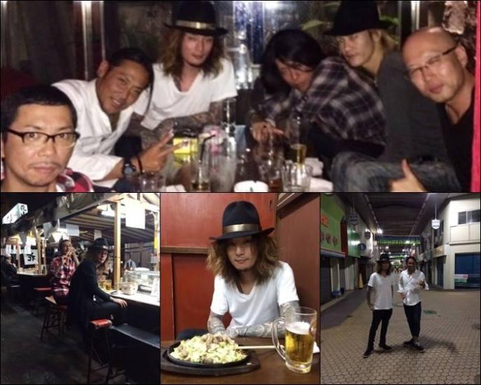 Kaoru con Zenji Oshikawa, Gara (MERRY), Hazuki (lynch.), y más amigos, después del concierto que ofreció Dir en Grey en el OITA T.O.P.S Bitts HALL.